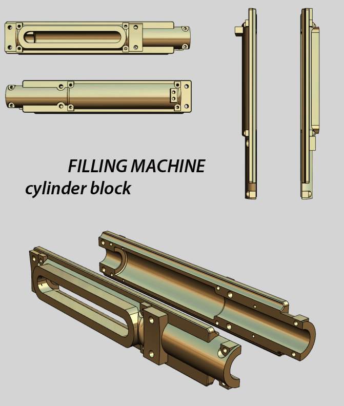 Filling Machine Spare Parts, Bottle Filler Cylinder Block, Filler Cam Shaft Lift Roller Block, monoblock filling parts