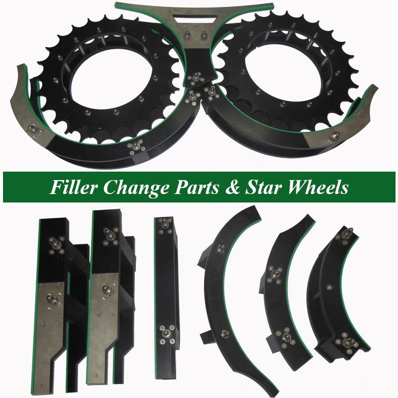 Filling Machine Change Parts, Filler Star Wheels, Filler innofill Feed Screws, Filler Bottle Handling Parts, Bottle Filling OEM Parts