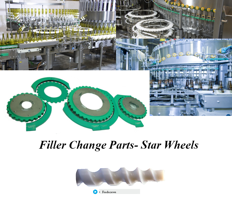 Filler Change Parts, Container Handling Parts, Capper Star Wheels, Capping feed screw, Filler Capper OEM parts, Bottle Filling Star Wheels