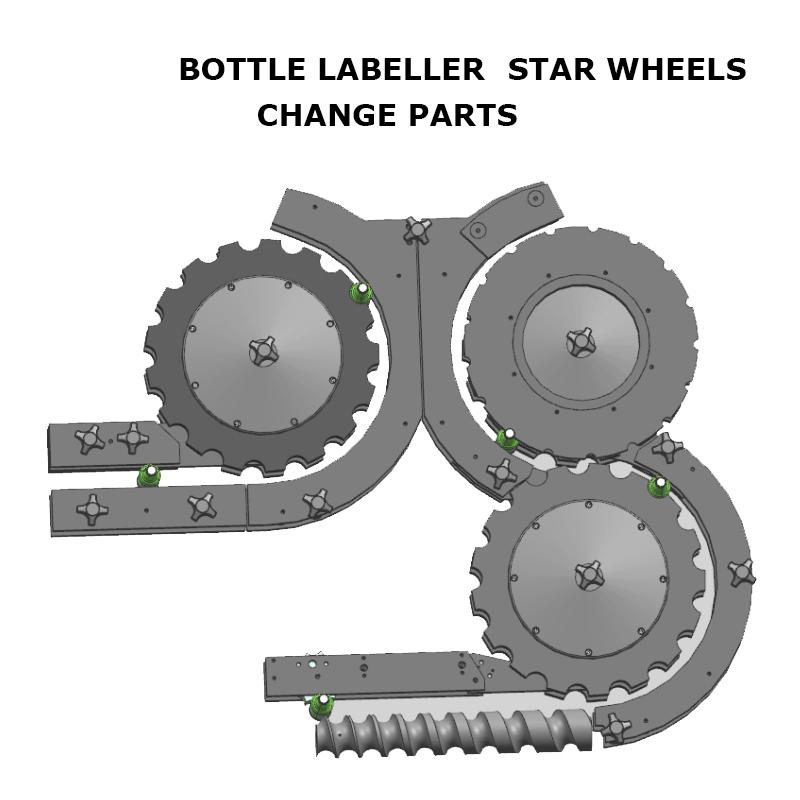 Bottle Labeller Change Parts, Bottle Labelling Machine Star Wheels, Bottle Labeller  Change Parts, Labelling Machine Star Wheels, Feed Screws